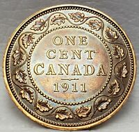 CANADA GEORGE V LARGE 1 CENT 1911 95  COPPER CANADIAN PENNY