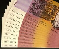 10 X CONSECUTIVE $5 NOTES 1990   STRAIGHT FROM A BUNDLE   CH