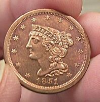 AU 1851 HALF CENT  LUSTER AND GOOD DETAIL