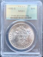 1885-S MORGAN SILVER DOLLAR PCGS MINT STATE 61OLD GREEN HOLDER