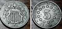 1876 5C SHIELD NICKEL BETTER GRADE   UNITED STATES COIN F58