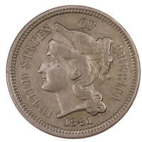 1881 - 3 CENT NICKEL RAW 3CN US COIN UNITED STATES