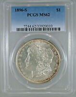 1896-S MORGAN DOLLAR MINT STATE 62 PCGS CERTIFIED