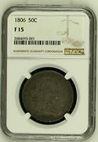 1806 DRAPED BUST HALF DOLLAR - NGC F 15 -  EARLY COLLECTOR TYPE COIN