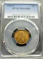 1936-S  LINCOLN WHEAT CENT - PCGS MINT STATE 64 RD