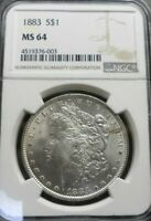 1883-P  MORGAN SILVER DOLLAR NGC MINT STATE 64