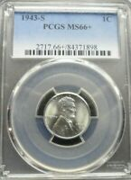 1943-S  LINCOLN WHEAT CENT - PCGS MINT STATE 66 RED