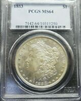 1883-P  MORGAN SILVER  DOLLAR PCGS  MINT STATE 64
