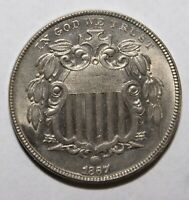 1867 SHIELD NICKEL   NO RAYS