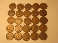 1/2 ROLL 1915  LINCOLN WHEAT CENTS PENNY IN AG/G BETTER CONDITION 25 COINS