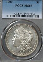 1900 $1 MORGAN SILVER DOLLAR PCGS MINT STATE 65 TOP 100 DDR VAM-11 DOUBLED WING PL OBV
