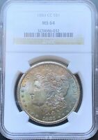 1883-CC MORGAN SILVER DOLLAR NGC MINT STATE 64TONED OBVERSE