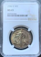 1946-S WALKING LIBERTY HALF DOLLAR NGC MINT STATE 65TONED OBVERSE
