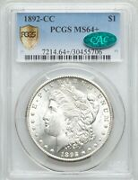 1892-CC MORGAN DOLLAR MINT STATE 64; PCGS GOLD SHIELD SECURE & CAC