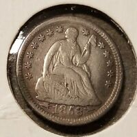 1853 SEATED LIBERTY HALF DIME WITH ARROWS BENT