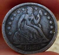 1855 WITH ARROWS SEATED DIME VF