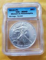 2015 P ICG MINT STATE 69 SILVER EAGLE STRUCK AT THE PHILADELPHIA MINT ONLY 79,640 STK