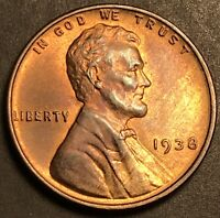 1938-P LY TONED UNCIRCULATED LINCOLN CENT WHEAT CENT
