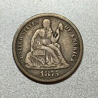 1875-CC ABOVE BOW SEATED LIBERTY DIME  KEY TYPE COIN