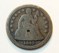1842 U.S. SEATED LIBERTY SILVER DIME   10  COIN