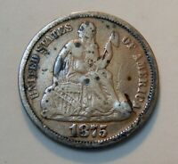1875 U.S. SEATED LIBERTY SILVER DIME   10  COIN