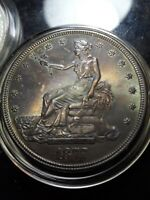 1877 S TRADE DOLLAR   WITH HUE COLORS OF BLUE ORANGE PURPLE