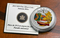 2013 CAN $20   AUTUMN BLISS   $20 1 OZ .9999 SILVER PROOF COIN W/ALL OMP