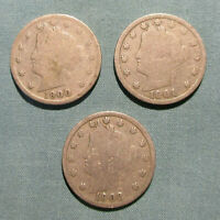1900, 1901, 1902 LIBERTY NICKELS - U.S. 5 CENTS COIN NICKEL