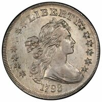 1798 $1 POINTED 9, 4 VERTICAL LINES BB-125 DRAPED BUST DOLLAR PCGS AU53