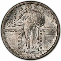 1917-D 25C TYPE 2 STANDING LIBERTY QUARTER PCGS MINT STATE 65FH