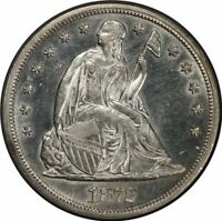 1872-S SEATED LIBERTY - MOTTO S$1 NGC MINT STATE 62