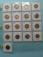 LOT OF 17 DIFFERENT CANADIAN UNC/MINT NICKELS  5C  NO RESERV