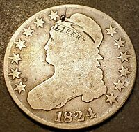 1824/4 CAPPED BUST HALF DOLLAR, MIDDLE GRADE BETTER OVER DATE COIN SILVER 50C