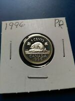 1996 UNC PROOF CANADIAN SILVER 5C NO RESERVE