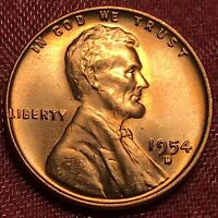 1954 D LINCOLN WHEAT CENT PENNY RED GEM BU
