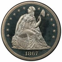 1867 $1 DOLLAR LIBERTY SEATED, WITH MOTTO PCGS PR65CAM