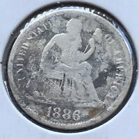 1886 S SEATED LIBERTY DIME 10C HIGHER GRADE VF DETAILS  2634
