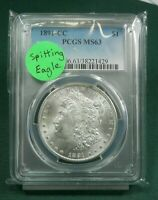 1891 CC PCGS CERTIFIED MINT STATE 63  MORGAN SILVER DOLLAR  VAM3