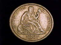 1867-S SEATED LIBERTY DIME, EXTRA FINE GRADE.  A  SAN FRANCISCO MINT ISSUE