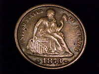 1873-S SEATED LIBERTY DIME, EXTRA FINE GRADE.  A  SAN FRANCISCO MINT ISSUE