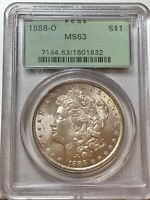 1888-O MORGAN DOLLAR  PCGS MINT STATE 63 OLD GREEN HOLDER
