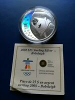 2008 OLYMPIC BOBSLEIGH STERLING SILVER $25 COIN & COA ONLY N