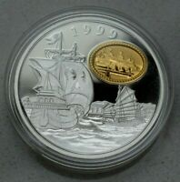 MACAU CHINA 1999 STERLING SILVER   GOLD INLAY 100 PATACAS COIN  NICE