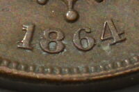 OLD 1864 USA UNITED STATES 2 CENT LARGE MOTTO REPUNCHED DATE VARIETY