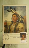 DR WHO 1968 FDC MAXIMUM CARD INDIAN CHIEF ART  F33711