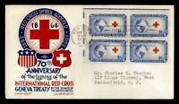 DR WHO 1952 FDC RED CROSS ELECTRIC EYE BLOCK STAEHLE/CACHET