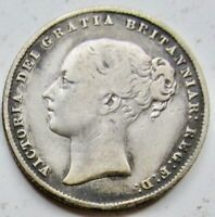 1844 GREAT BRITAIN SILVER .925 FOUR 4 PENCE 4D YOUNG HEAD QU