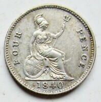 1840 GREAT BRITAIN SILVER .925 4 FOUR PENCE YOUNG HEAD QUEEN