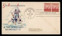 DR WHO 1940 FDC NATIONAL DEFENSE PAIR WWII PATRIOTIC CACHET