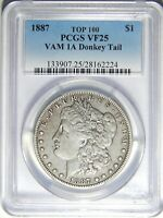 1887 P MORGAN DOLLAR VAM-1A DONKEY TAIL PCGS VF-25 R-6
